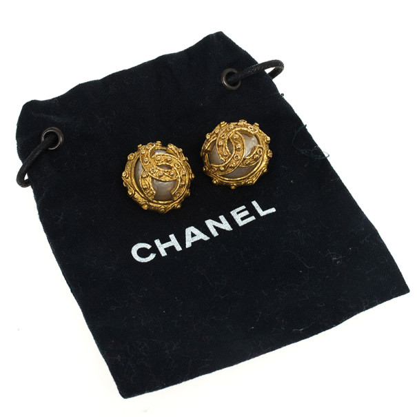 Chanel Pearl CC Logo Studded Clip On Earrings