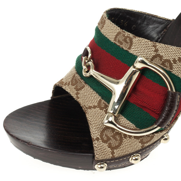Gucci Monogram Icon Bit Web Detail High Heel Clogs Size 36
