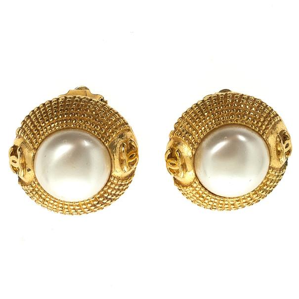 Chanel Vintage Faux Pearl Gold Tone Earrings