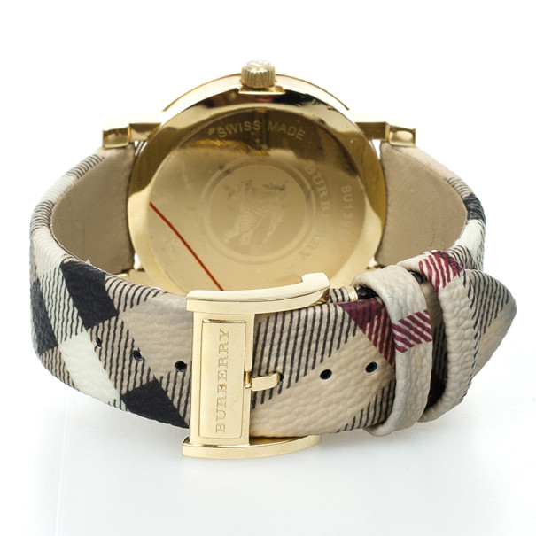 Burberry Gold Plated SS Haymarket Check Womens Wristwatch 38 MM