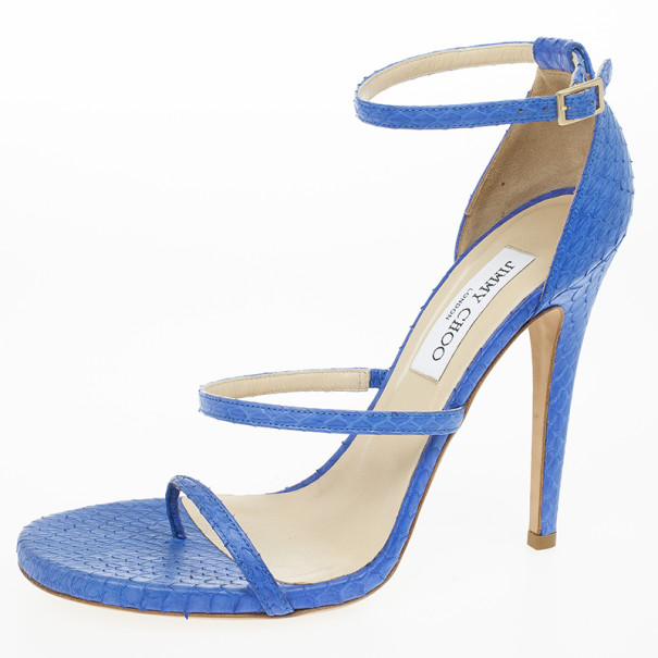 Jimmy Choo Blue Snakeskin Thunder Sandals Size 40