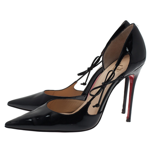 Christian Louboutin Black Patent Leather Pointed Toe D'orsay Pumps Size 40
