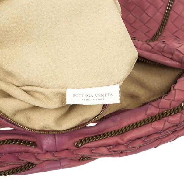Bottega Veneta Pink Intrecciato Nappa Leather Chain Medium Veneta Hobo Bag