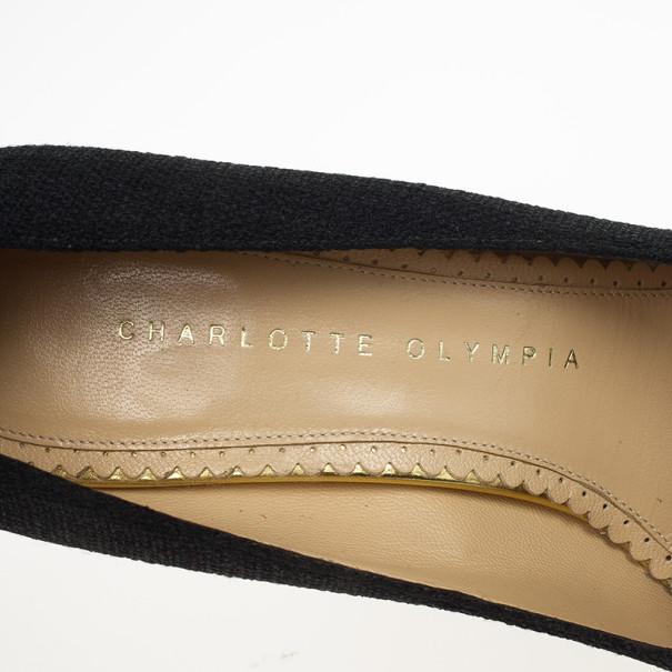 Charlotte Olympia Carmen Black Canvas Espadrilles Wedge Pumps Size 36