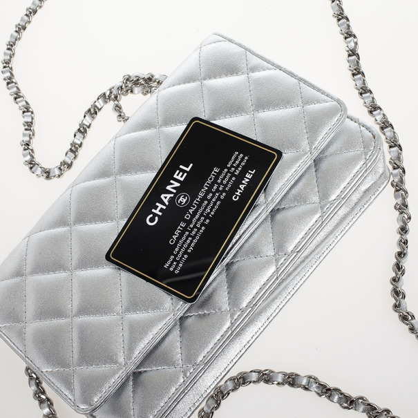 Chanel Silver Quilted Classic Quilted WOC Bag