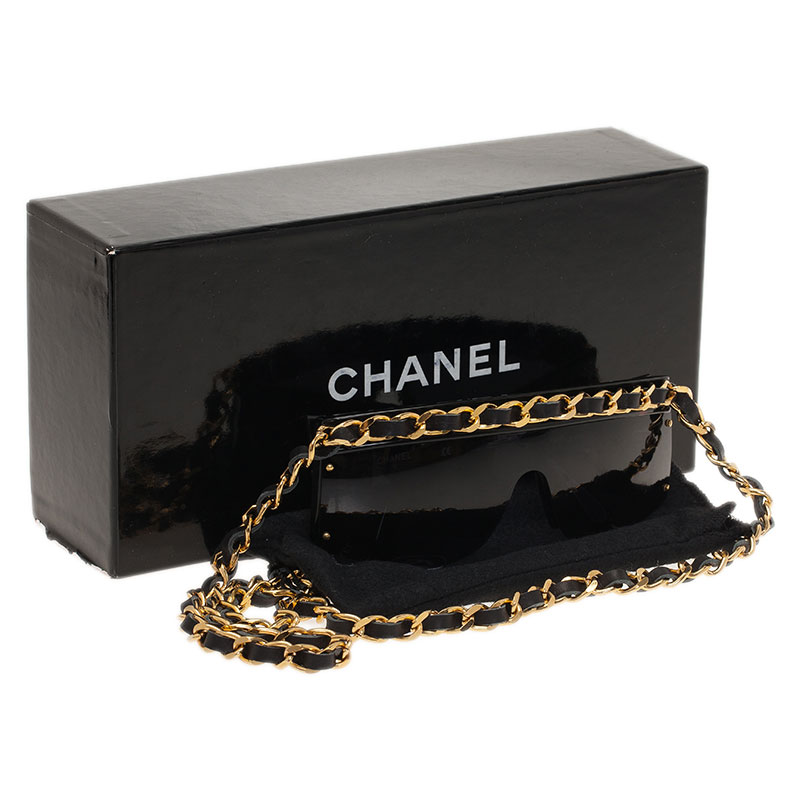 Chanel Black Vintage Chain Link Shield Sunglasses