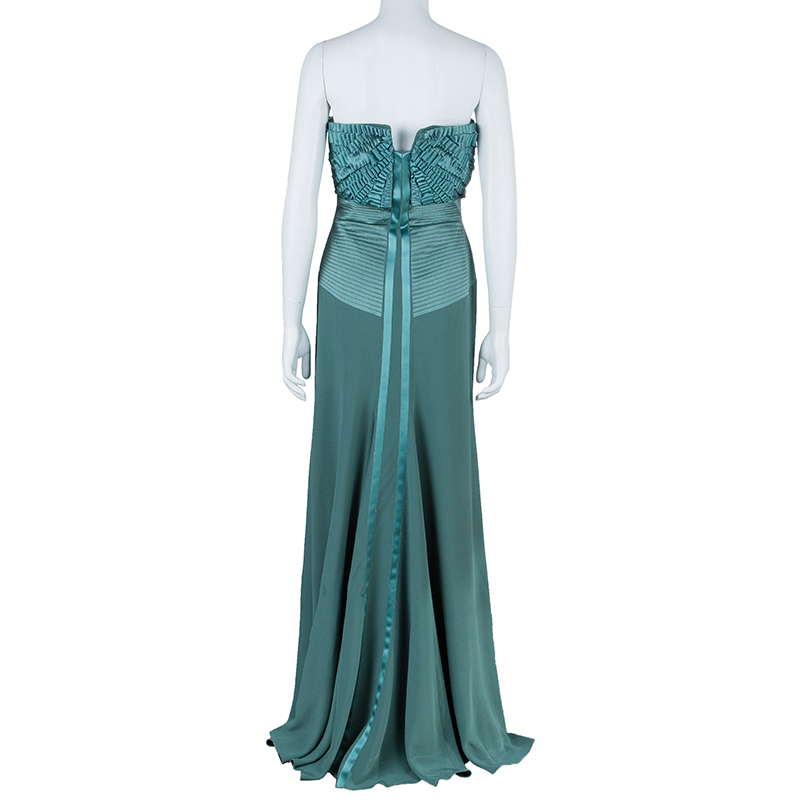 Alberta Ferretti Green Embellished Bustier Evening Gown M