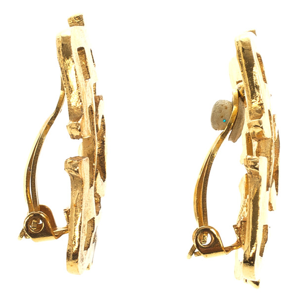 Chanel Vintage Gold Tone Square Earrings