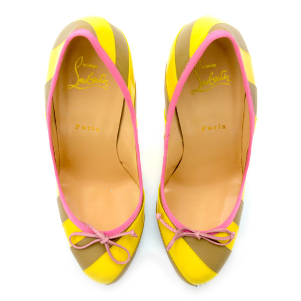Christian Louboutin Yellow/Grey Striped Patent Leather Foraine 140mm Pumps Size 39