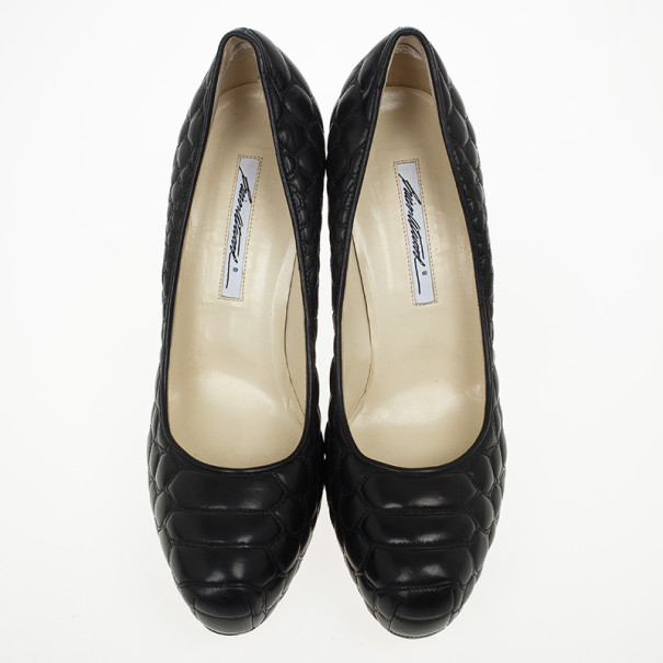 Brian Atwood Black Quilted Leather Maniac Pump Size 40.5