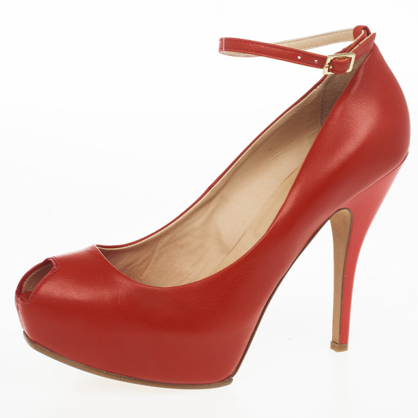 McQ By Alexander McQueen Red Leather Peep Toe Burlesque Size 41