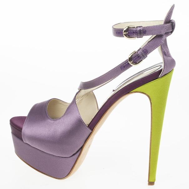 Brian Atwood Purple Satin Alexie Platform Sandals Size 39