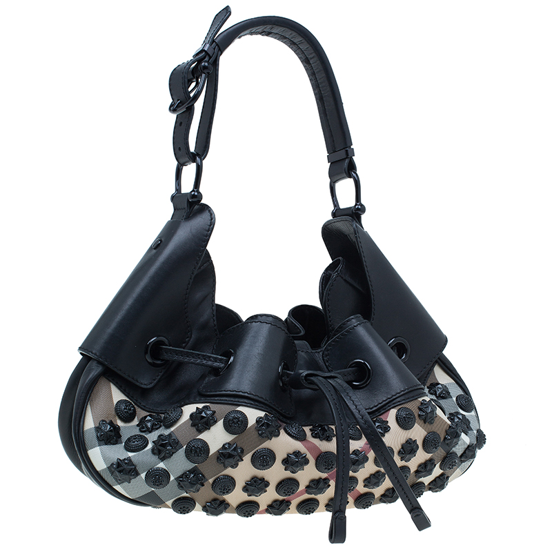Burberry Black Nova Check Small Warrior Hobo Bag