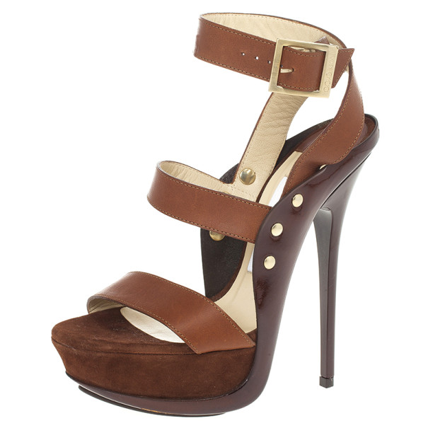 Jimmy Choo Brown Leather And Suede 'Halley' Platform Sandals Size 36