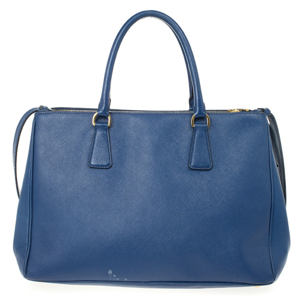 Prada Blue Saffiano Lux Double-zip Tote Bag