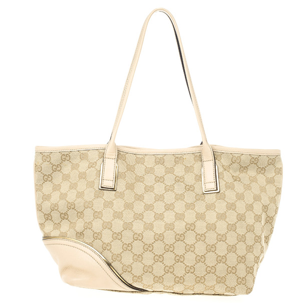 Gucci New Britt Medium Tote Beige and Ebony GG Canvas