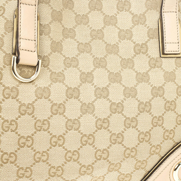 Gucci New Britt Medium Tote Beige and Ebony GG Canvas