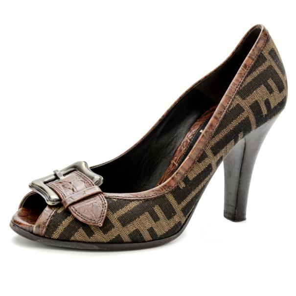 Fendi Zucca B Buckle Peep Toe Pumps Size 38
