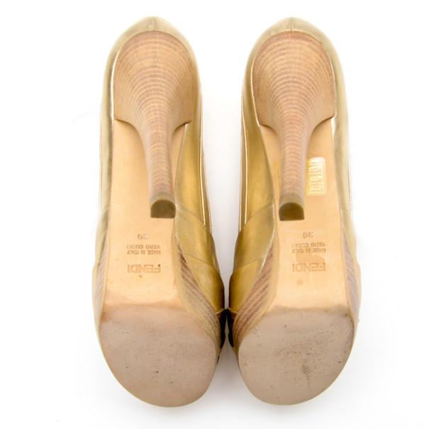 Fendi Gold Metallic Leather Pleated Peep Toe Platform Pumps Size 39