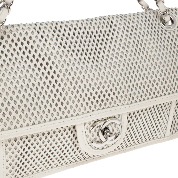 Chanel White Perforated Calfskin Up in the Air Classic Flap Bag