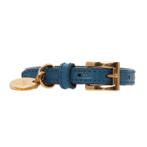 Prada Saffiano Blue Leather Bracelet 19.5CM