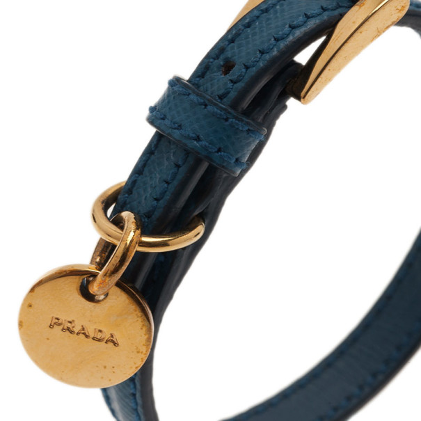Prada Saffiano Blue Leather Bracelet 19.5CM