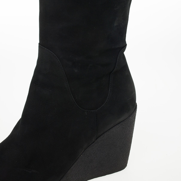 Fendi Black Suede Over the Knee Wedge Boots Size 37