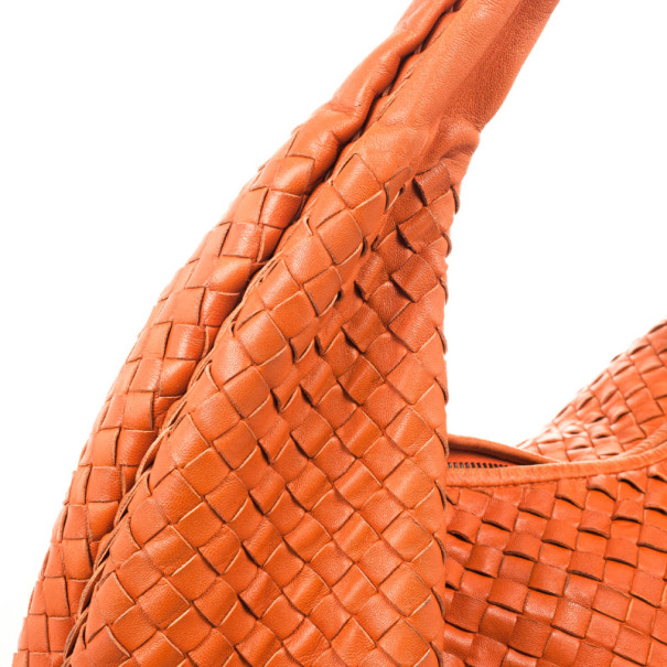 Bottega Veneta Orange Intrecciato Large Hobo