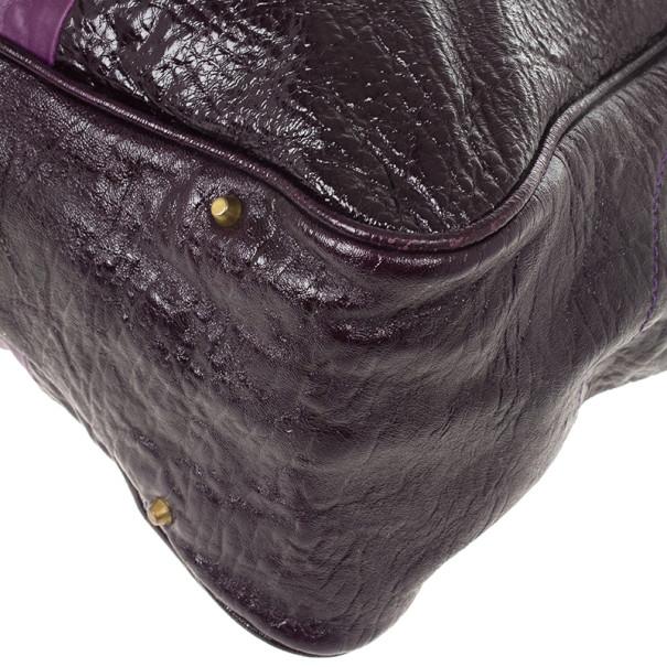 Chloe Dark Purple Leather Paddington Tote