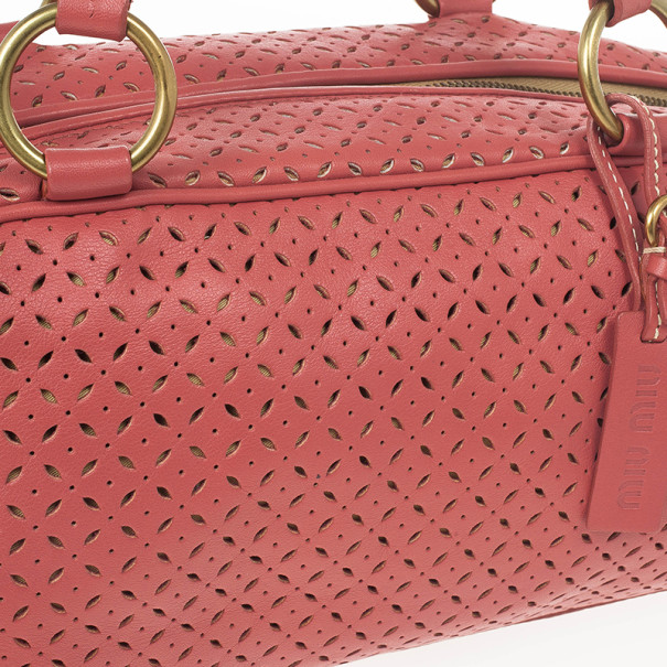 Miu Miu Pink Perforated Boston Bag