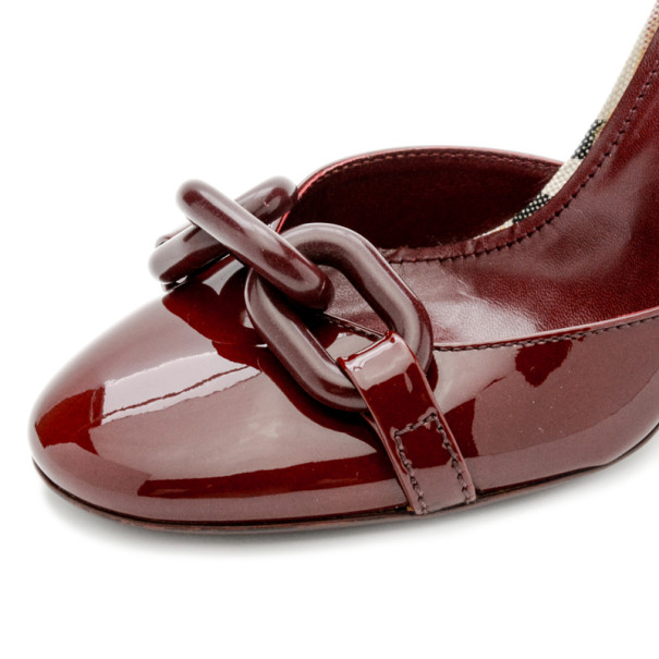 Burberry Maroon Patent Ankle Strap Sandals Size 38