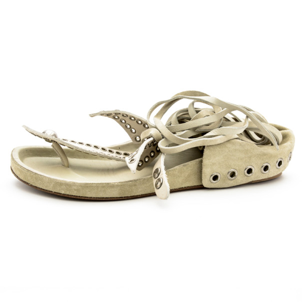 Isabel Marant White Leather Edris Bow Tie Sandals Size 37