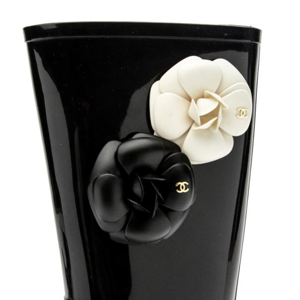 Chanel Black Rubber Camelia Rain Boots Size 36