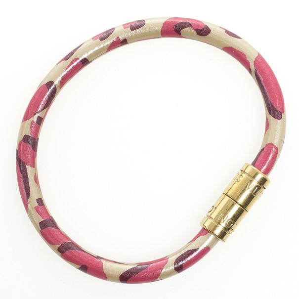 Louis Vuitton Keep It Blanc Corail Leopard Bracelet 18 CM