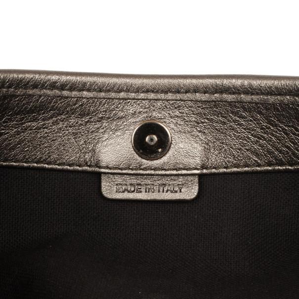 Burberry Silver Medium Metallic Grainy Leather Hobo