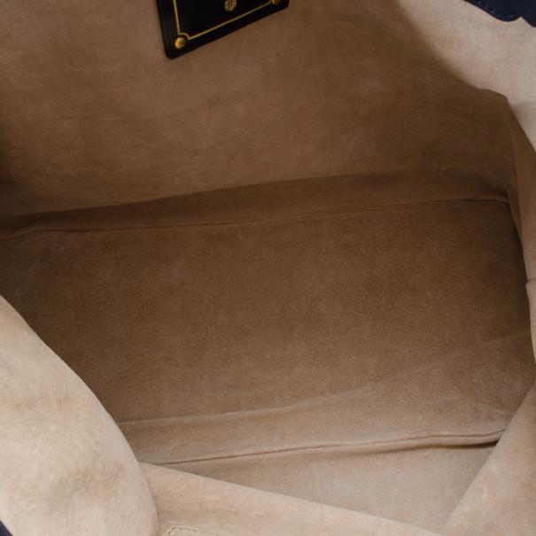 Prada Navy Baltico Soft Calf Leather Tote