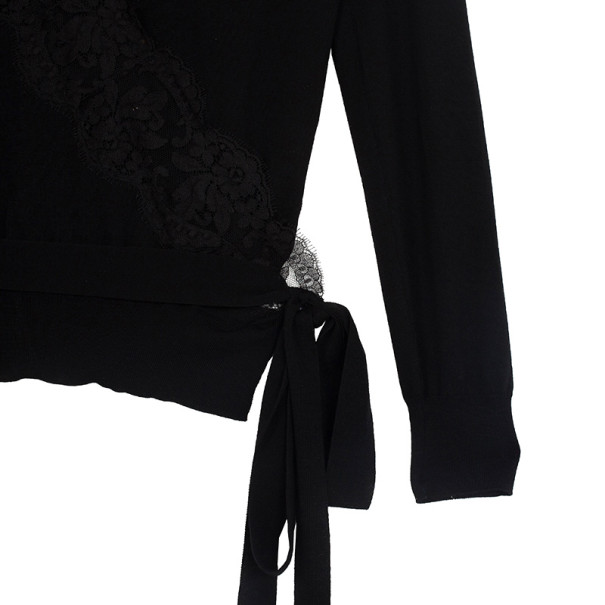 Dolce and Gabbana Lace Trim Wrap Top L
