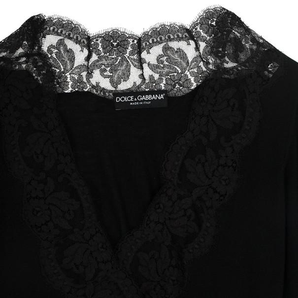 Dolce and Gabbana Lace Trim Wrap Top L