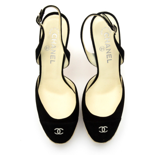 Chanel Black Suede CC Slingback Sandals Size 38.5