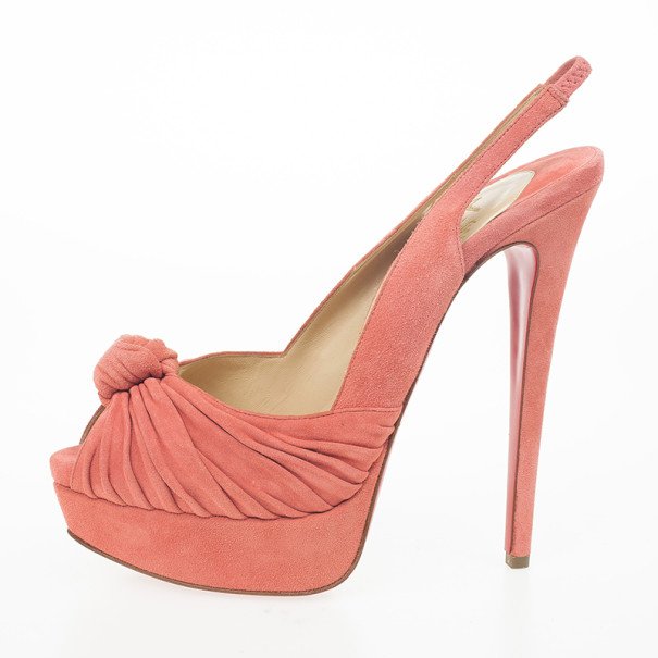 Christian Louboutin Pink Suede Jenny Knotted Slingback Platform Sandals Size 39