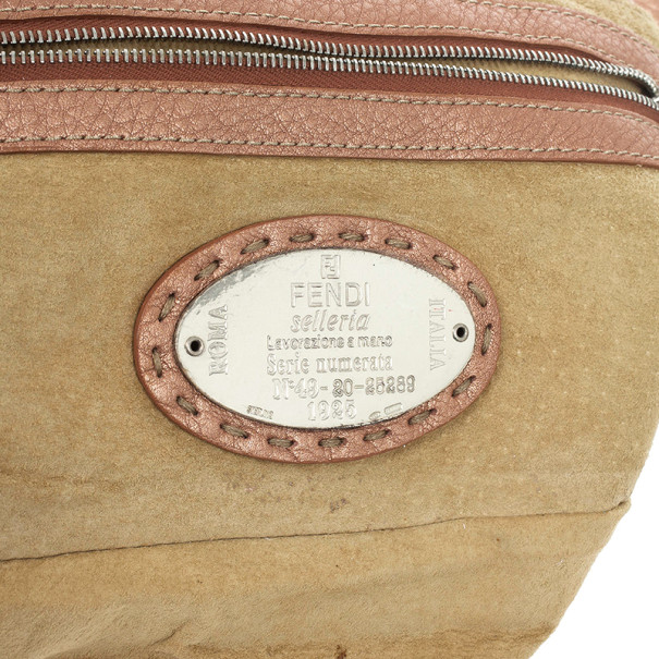 Fendi Rose Pebbled Leather Baguette