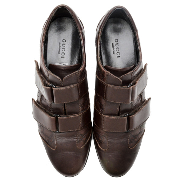 Gucci Brown Guccissima Leather Velcro Sneakers Size 37