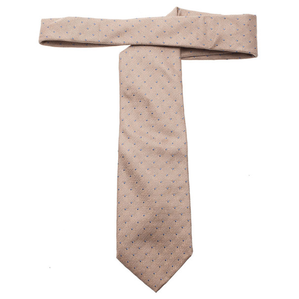 Louis Vuitton Beige Polka Dot Silk Tie