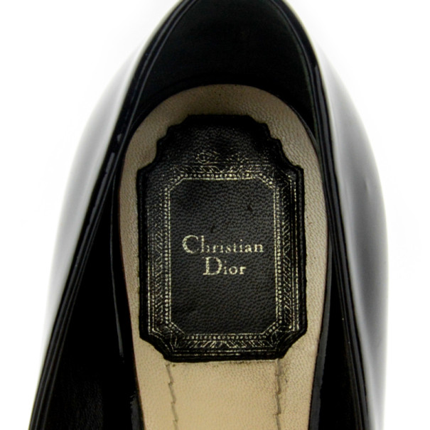 Christian Dior Black Patent Peep Toe Wedge Pumps Size 38