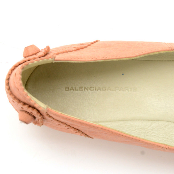 Balenciaga Peach Brogue Arena Ballet Flats Size 38
