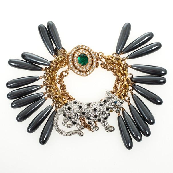 Mawi Drop Crystal Encrusted Panther Bracelet