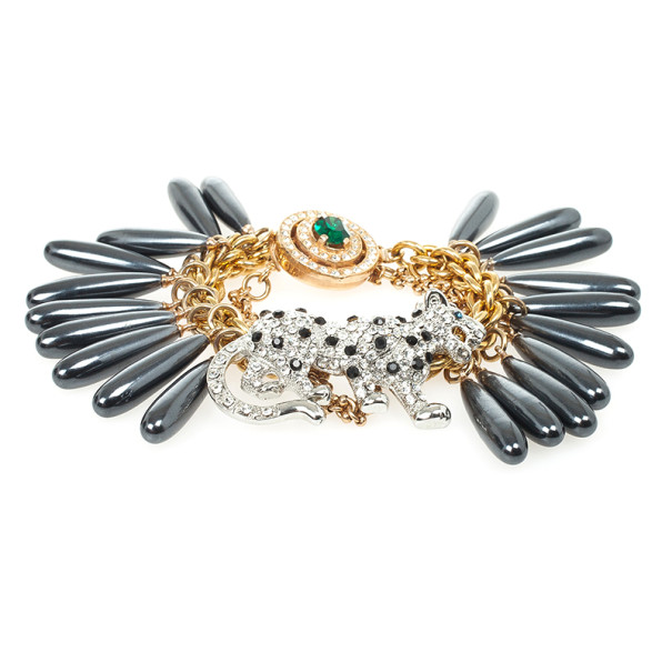 Mawi Drop Crystal Encrusted Panther Bracelet