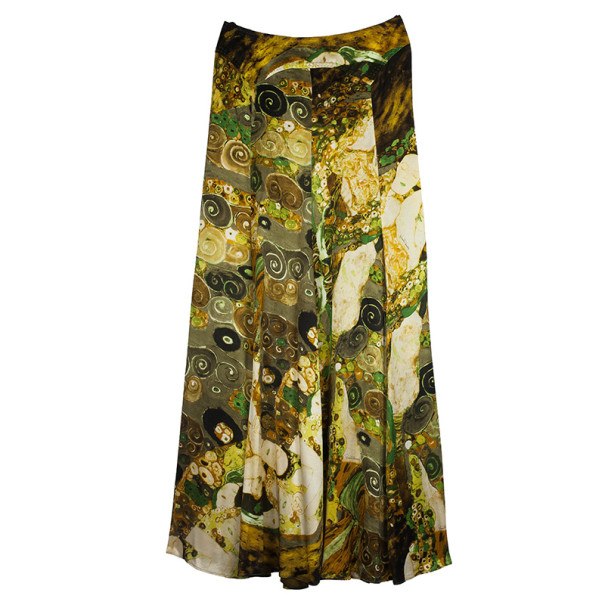 Roberto Cavalli Yellow Satin Skirt Set M