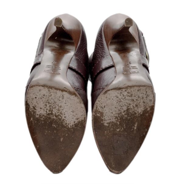 Fendi Purple Leather Buckle Knee Length Boots Size 37