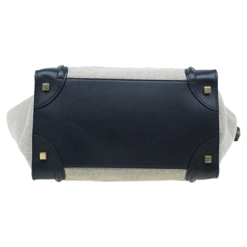 Celine Tri Color Canvas/Leather Mini Luggage Tote Bag